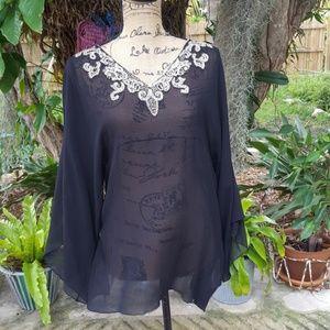 Dana Buchman silk bead embellished black blouse